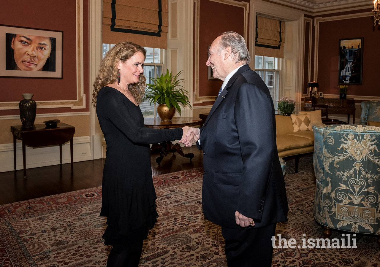 Her Excellency the Right Honourable Julie Payette, Governor General of Canada, welcoming Mawlana Hazar Imam to Rideau Hall for a celebration of his contributions to the world during his 60 years of leadership as Imam of the Shia Ismaili Muslim community.