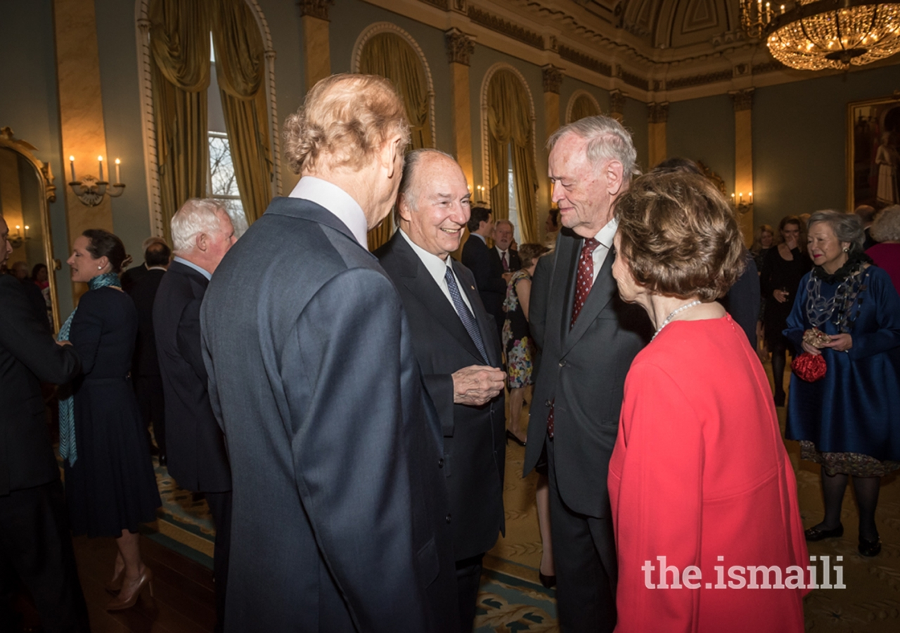 Mawlana Hazar Imam with former Prime Minister the Right Honourable Jean Chrétien, Aline Chrétien and John Ralston Saul at Rideau Hall in Ottawa where Hazar Imam's Diamond Jubilee was being commemorated by various Canadian leaders.