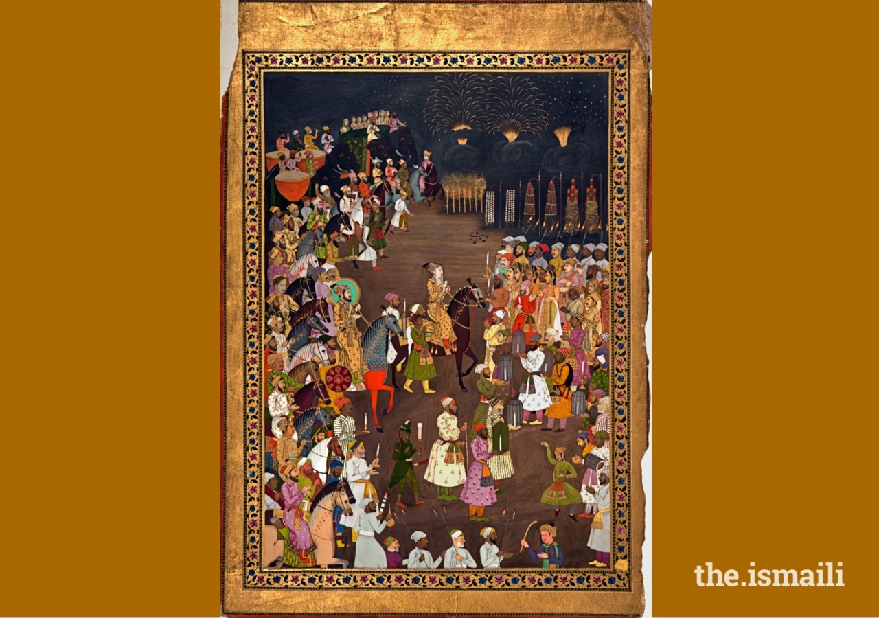 The Mughal Emperor Shah Jahan in the marriage procession of his eldest son, Dara Shikoh. Original painting in the National Museum, Delhi