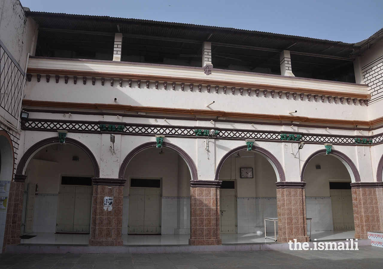 The courtyard at Dhal Road Jamatkhana, around which the Prayer hall, Religious Education Centre, and Institutional regional offices are located.