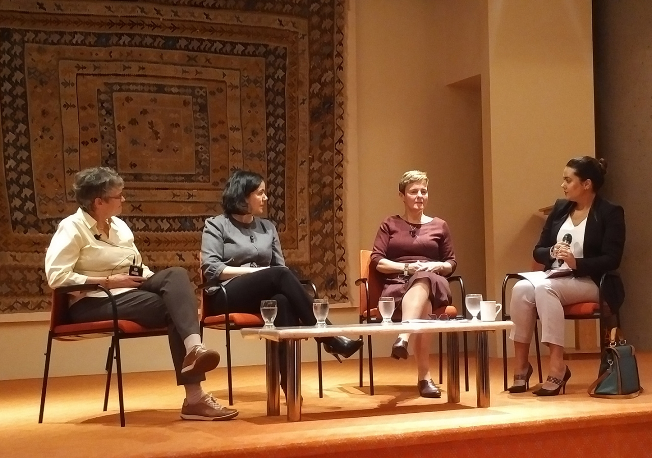 Panelists Deb Thomas, Sandra Singh and Gwen Bird with moderator Scheherazaad Cooper. Shamir Bharmal