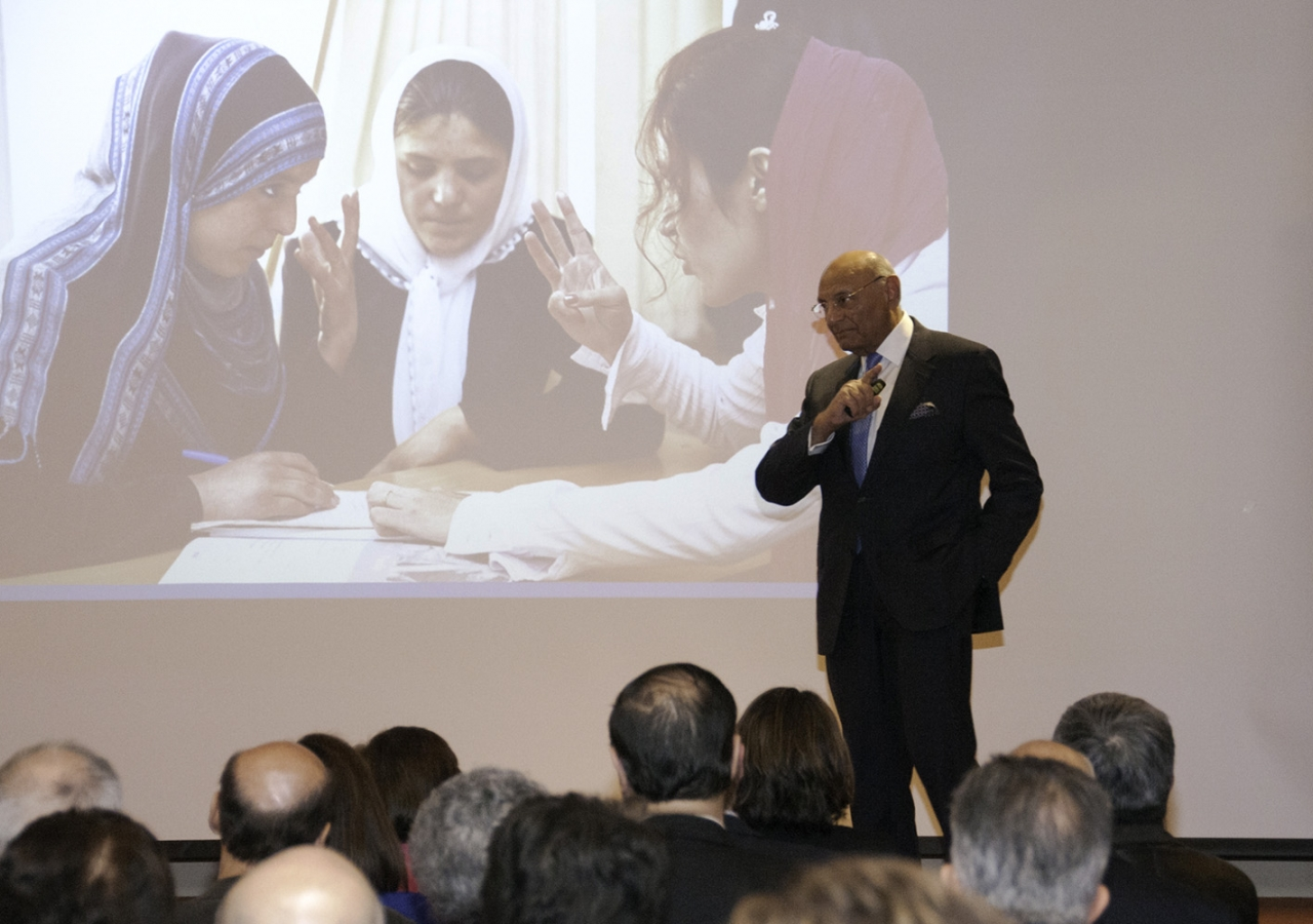 Shamsh Kassim-Lakha, explains the impact of the University of Central Asia to leaders of local civil society groups, educational institutions and government, and community members.