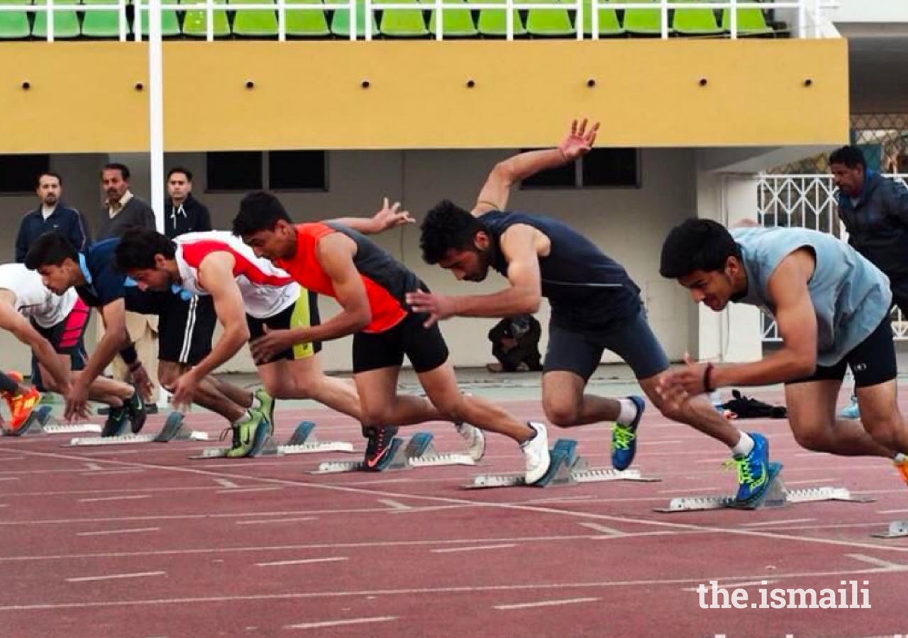 A sprint event on the athletics track at the Diamond Jubilee Sports Festival in Pakistan in 2018.