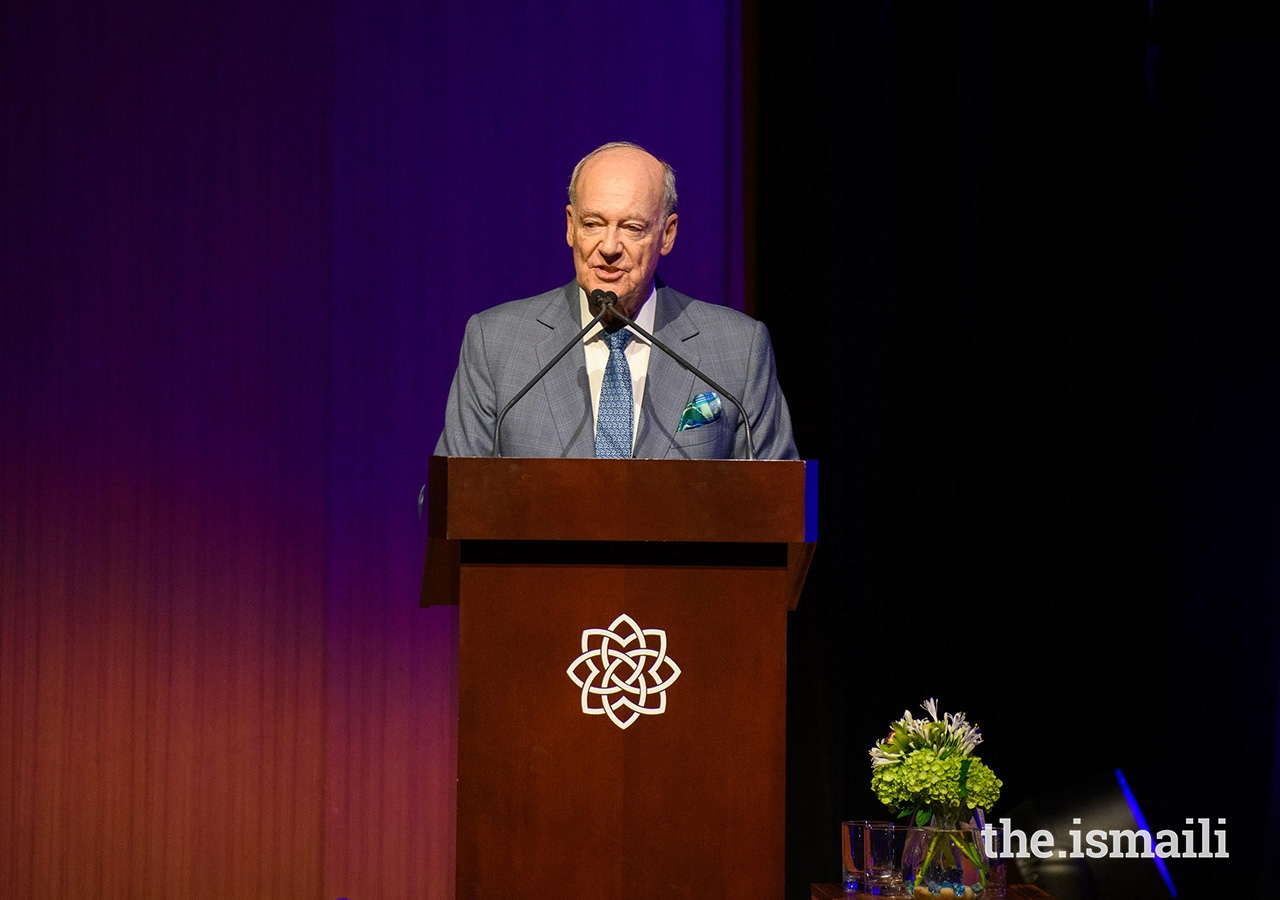 Prince Amyn delivers remarks at an event at the Aga Khan Museum on 22 November, where the Museum's new donor wall was unveiled.