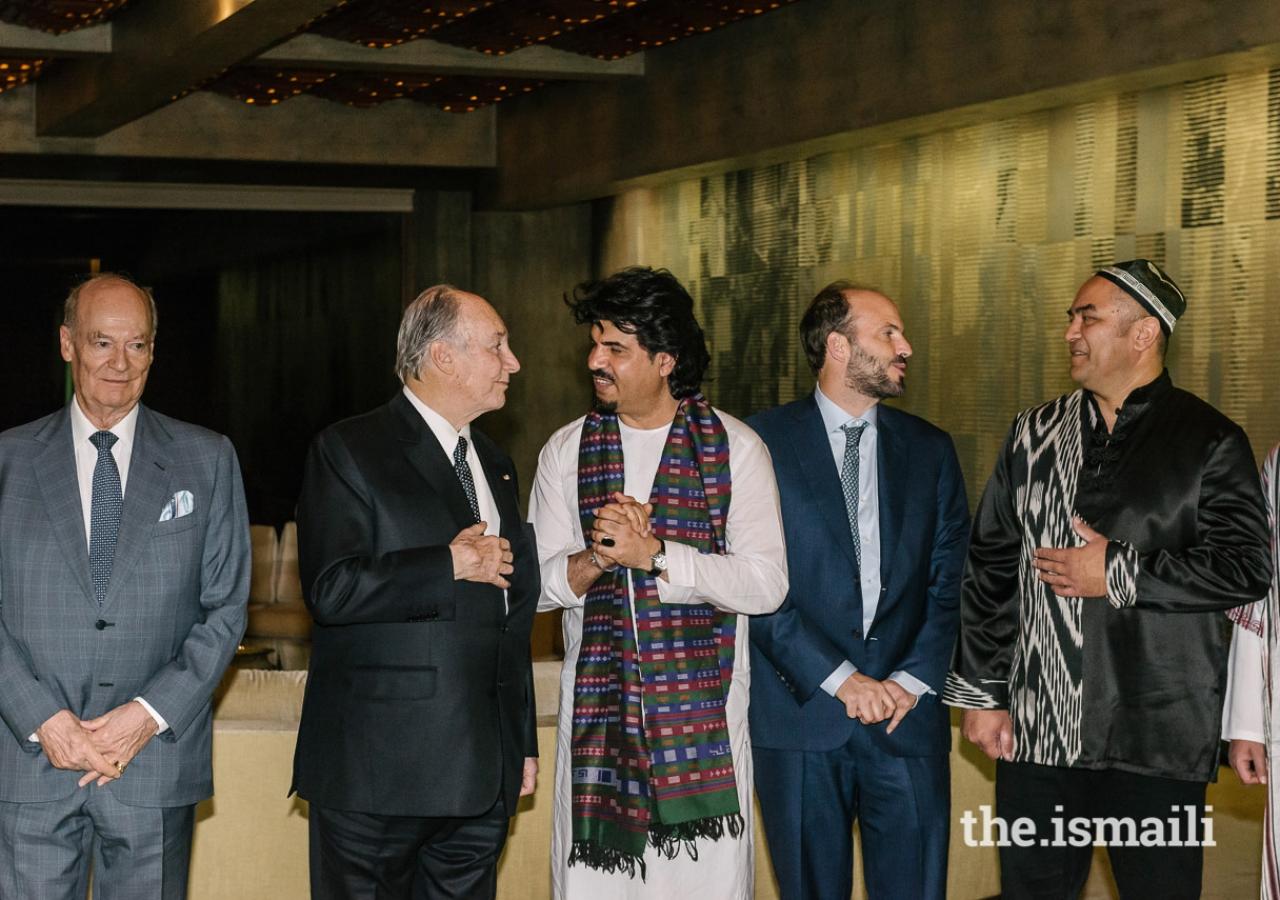 Mawlana Hazar Imam with Prince Amyn, Homayoun Sakhi, Prince Hussain, and Abbos Kosimov.
