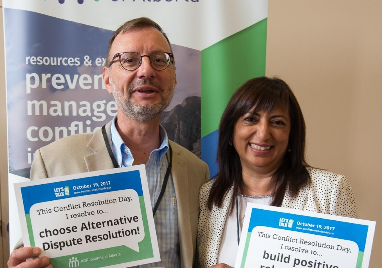 Gordon Andreiuk, Chair of the Alberta Family Mediation Society and Anisha Sachedina, Chair of the Aga Khan Social Welfare Board for Canada