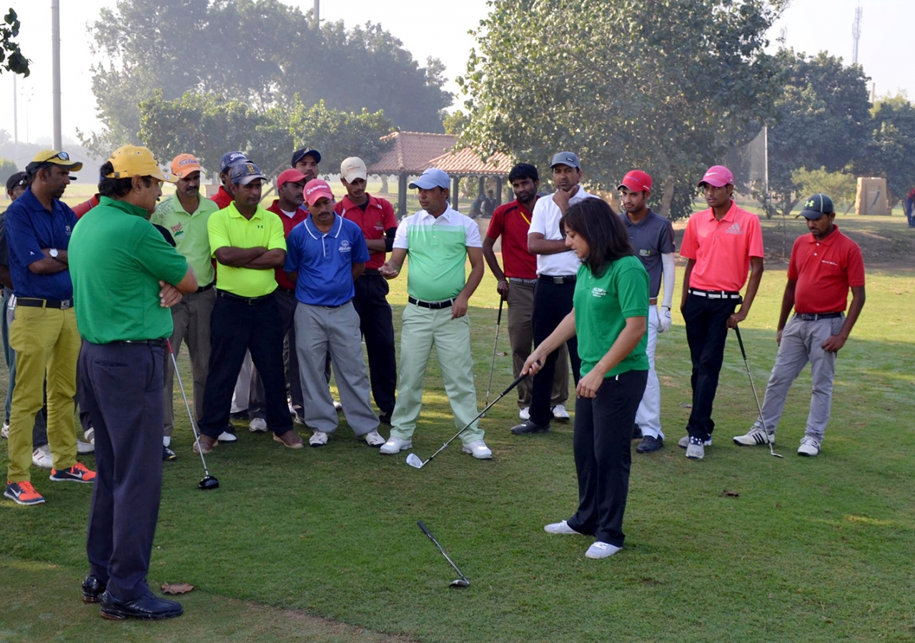 Professional coach and former elite golf player Salimah Mussani teaches her sport to aspiring pro golfers in Pakistan.