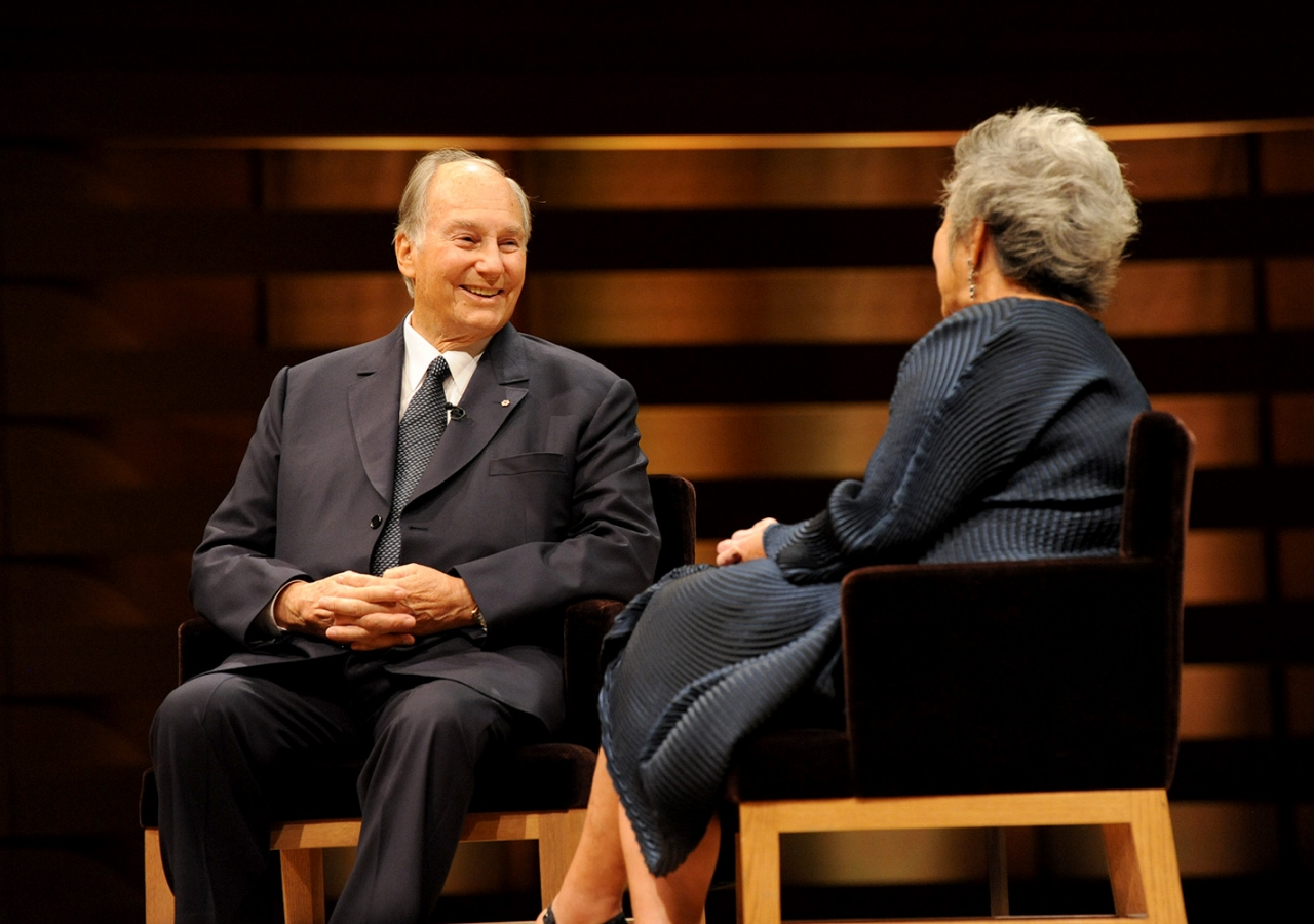 Mawlana Hazar Imam in an onstage conversation with Adrienne Clarkson. Lisa Sakulensky