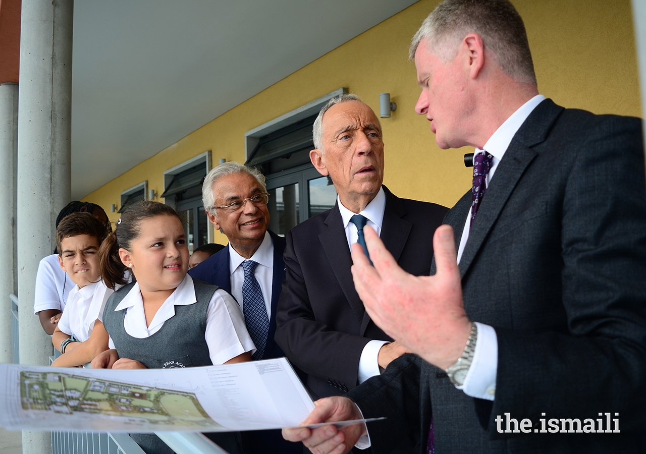 President Marcelo Rebelo de Sousa is shown around the Aga Khan Academy's campus and facilities, and the works currently in progress to expand the school in Maputo.