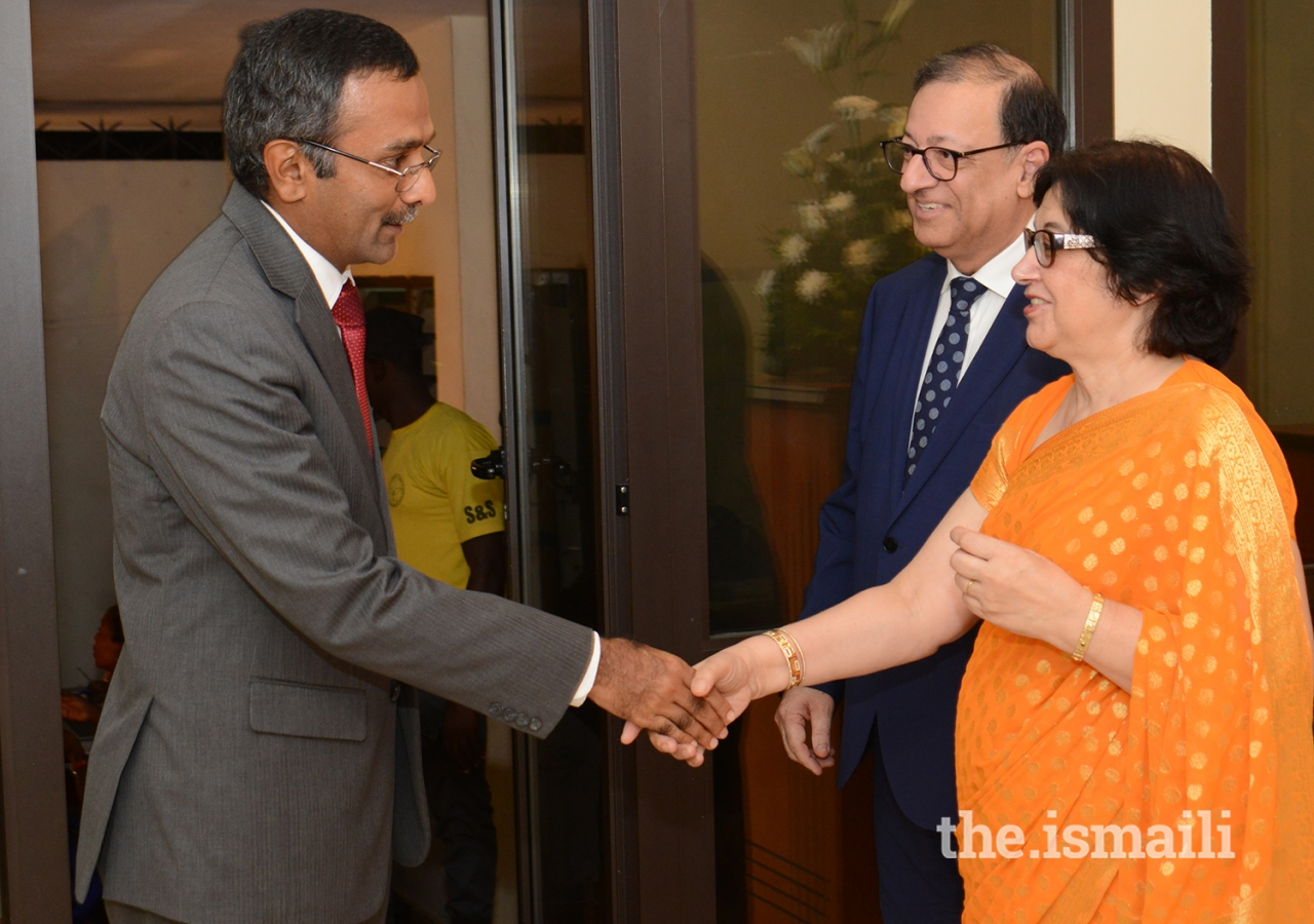 Mr Ferid Nandjee, Diplomatic Representative of AKDN West Africa, and his wife, Ms Nadine Nandjee, greet H.E. Ragutahalli Ravindra, Indian Ambassador to Côte d'Ivoire.