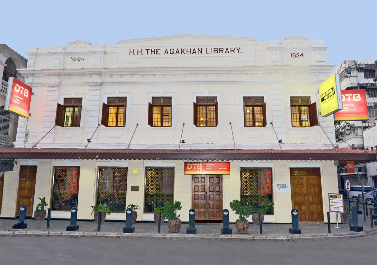 This DTB Diamond Trust Bank branch occupies the old Aga Khan Library heritage building in Dar es Salaam, and is one of more than 130 branches serving the East African region. DTB has operated in East Africa for over 70 years.