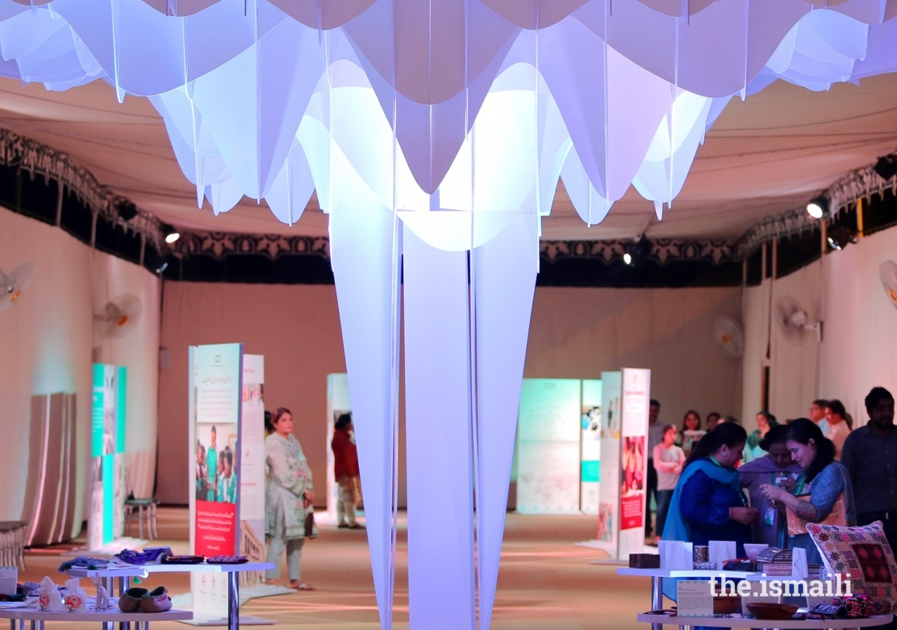 The digitally fabricated canopy, part of the Ethics in Action exhibition.