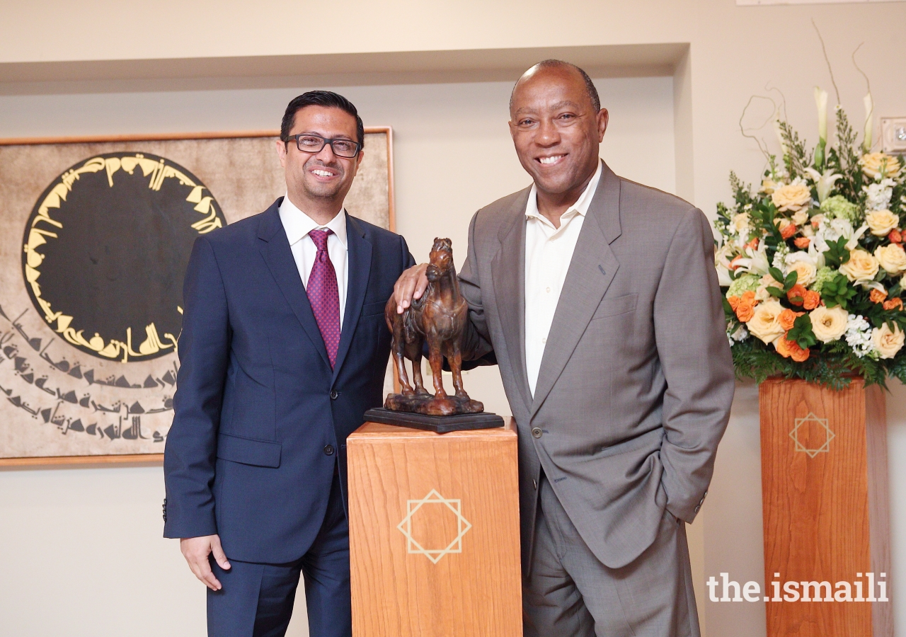 Houston Mayor Turner and President Murad Ajani of the Council for the Southwestern United States at Eid luncheon.