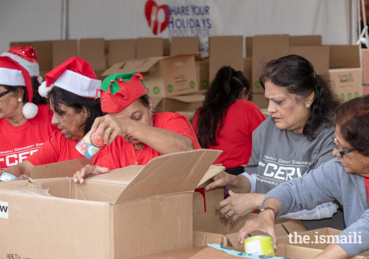 Over 100 I-CERV volunteers helped to collect and package donations at the Ismaili Jamatkhana and Center during the Share Your Holidays Food Drive.