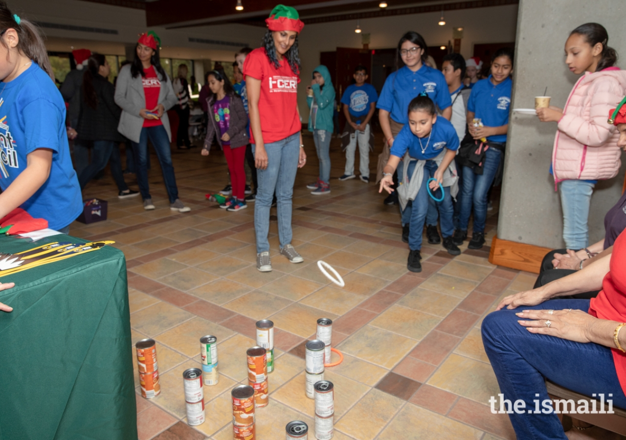 Students attending the Share Your Holidays Food Drive were treated to several fun activities inside the lobby of the Ismaili Jamatkhana and Center.