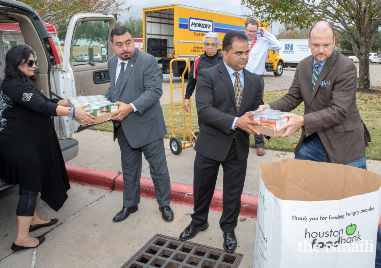 Community leaders attending the Share Your Holidays Food Drive included Xavier Herrera, Board Vice-President and Trustee of the Stafford Municipal School District, KP George, Judge-elect for Fort Bend County, and Ken DeMerchant, Commissioner-elect for Fort Bend County Precinct 4.