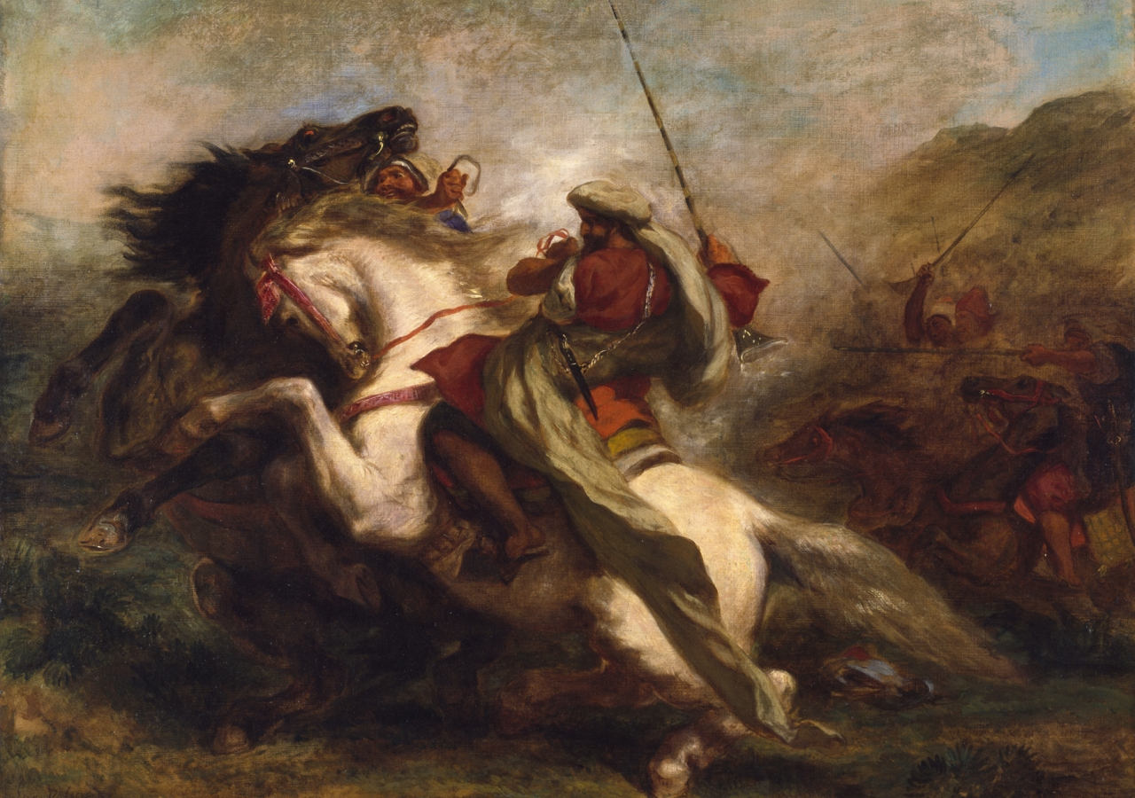 """Collision of Moorish Horsemen"" by Eugène Delacroix (1844). European orientalist artists often depicted the Muslim world through a lens of violence and barbarism, a stereotype that has remained until today."