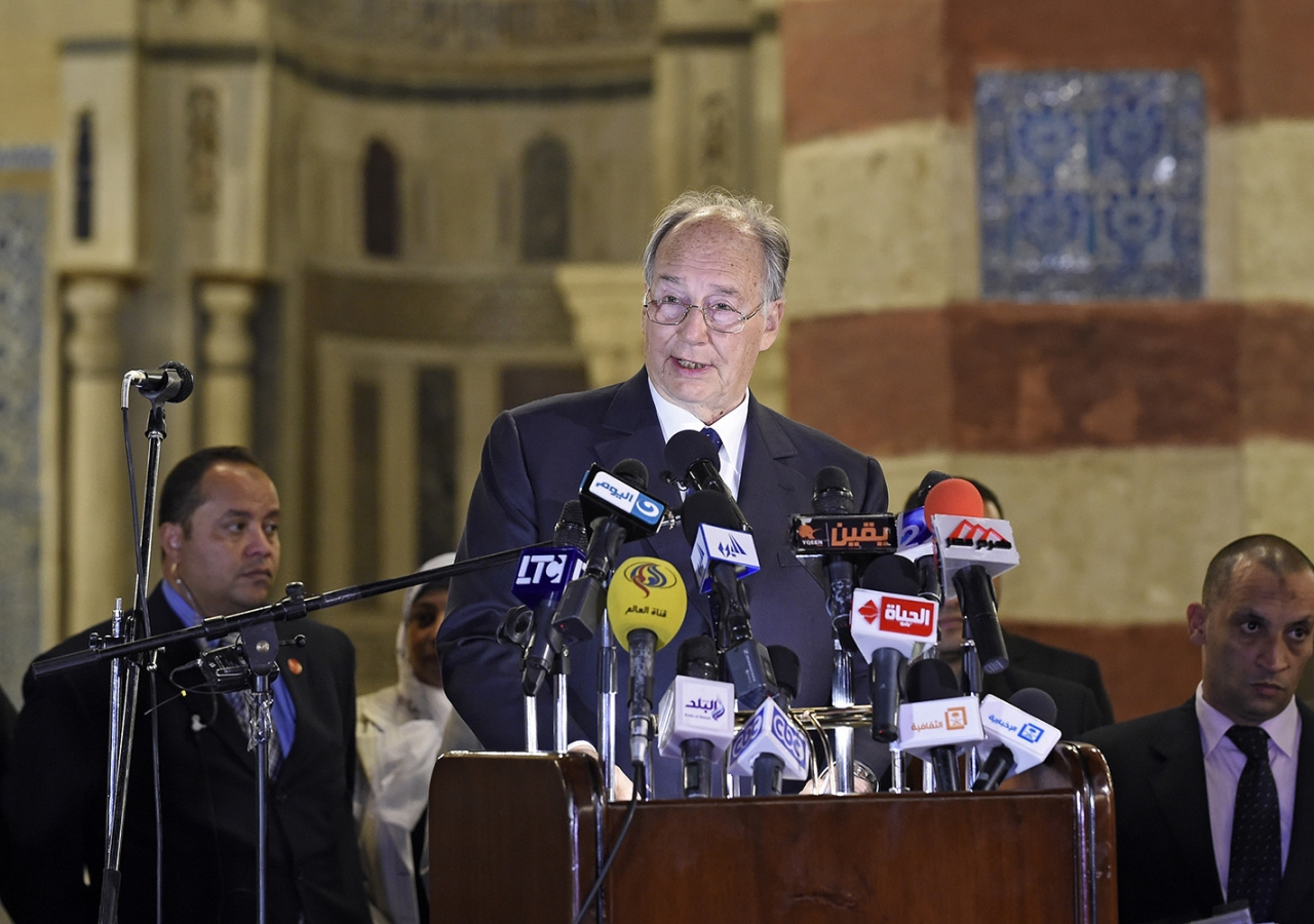 Mawlana Hazar Imam speaking at the inauguration ceremony marking the completed restoration of the Aqsunqur Mosque in Cairo, Egypt. AKDN / Gary Otte