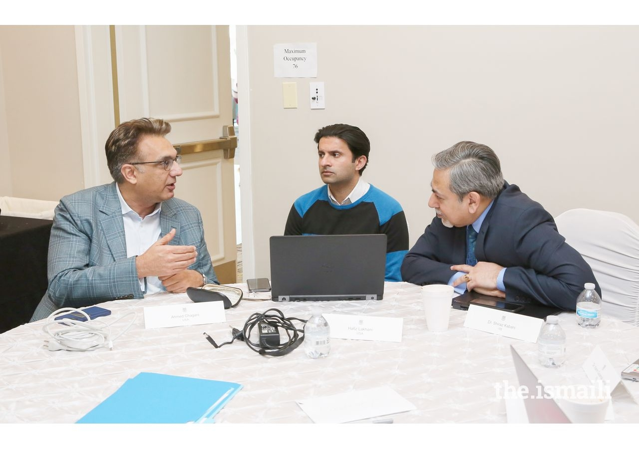 ITREB Chairman Murad Abdullah, Executive Officer Ahmed Chagani and Dr. Shiraz Kabani from IIS in a discussion.