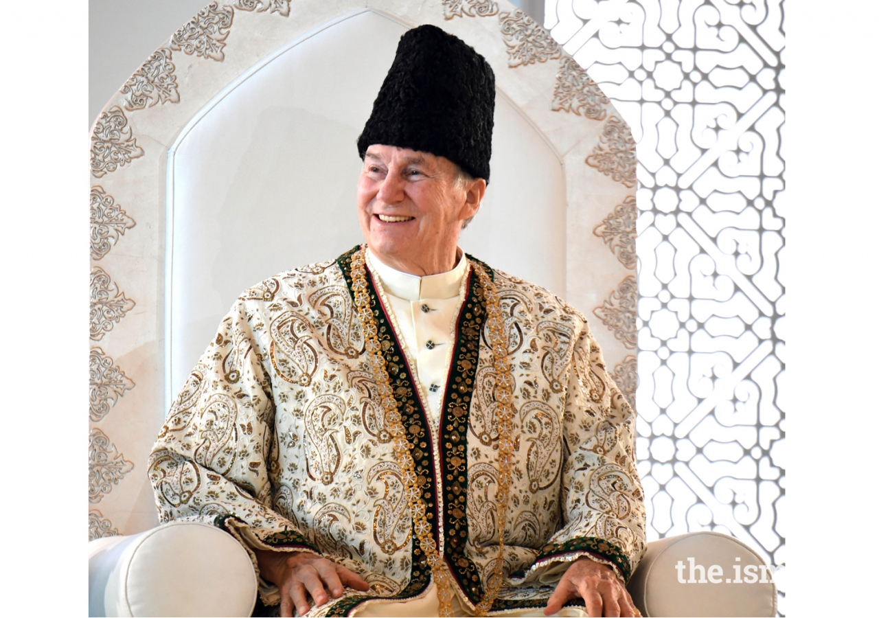 Mawlana Hazar Imam at the Diamond Jubilee Darbar in Paris.