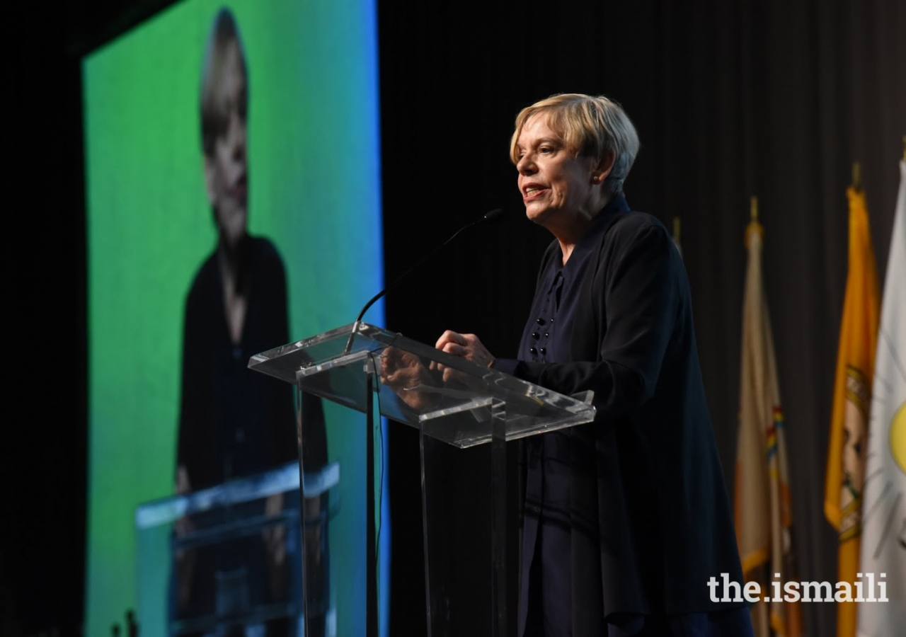 Karen Armstrong addressing the audience at the 2015 Parliament of World Religions, Salt Lake City, UT.