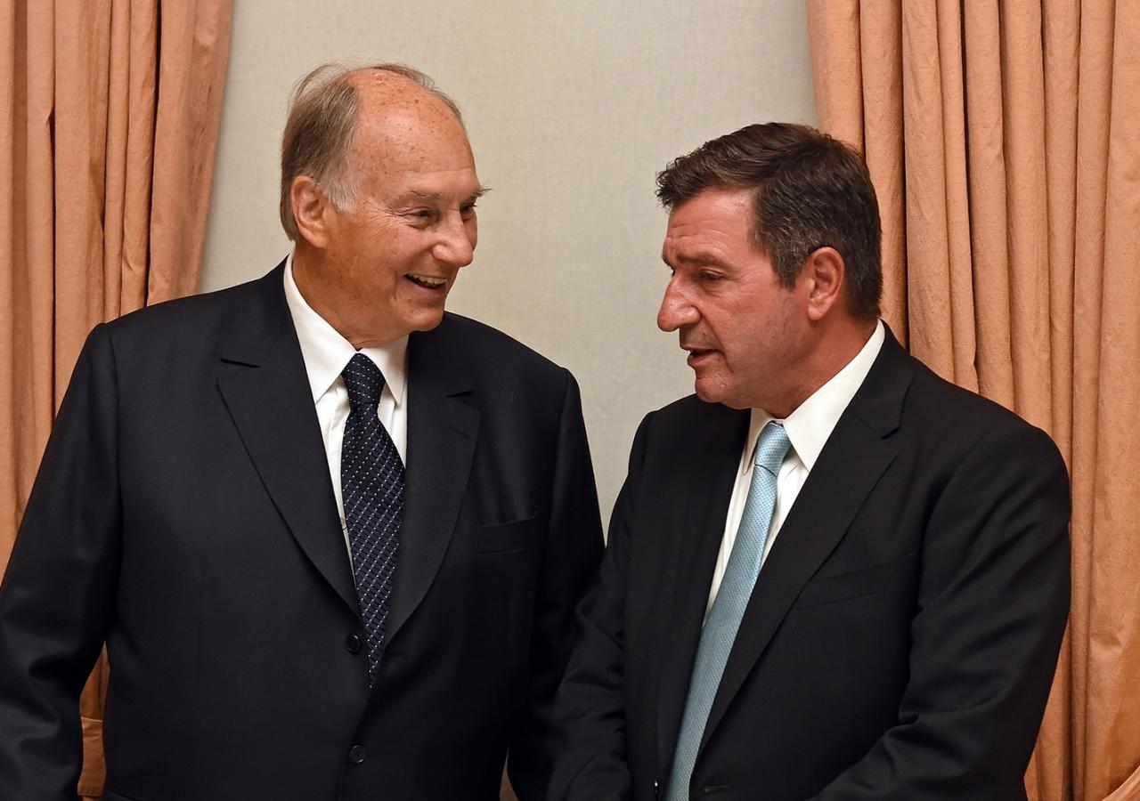 Mawlana Hazar Imam with the Mayor of Athens, His Worship Giorgos Kaminis, on Monday evening. AKDN / Gary Otte