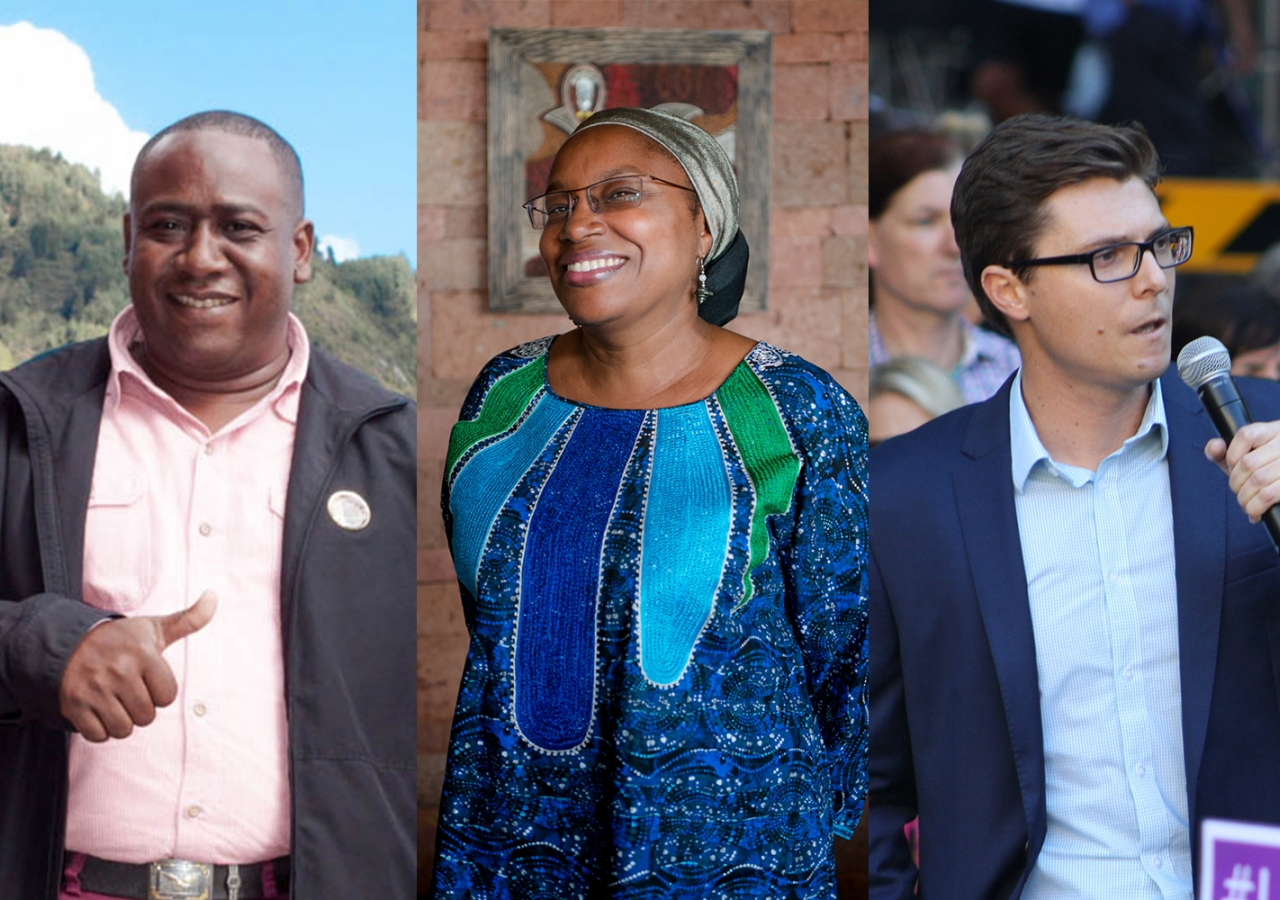 Left to right: Global Pluralism Award winners Leyner Palacios Asprilla of Colombia, Alice Wairimu Nderitu of Kenya, and Daniel Webb of Australia.