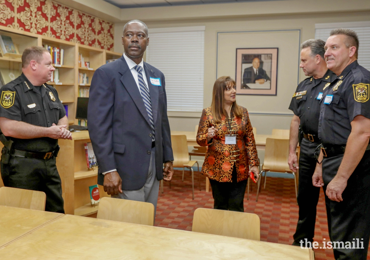 Police Chief J.W. Conroy and Dekalb County police officers toured the Ismaili Jamatkhana in Decatur, Georgia, during an Eid Appreciation Tea in honor of their service to community.
