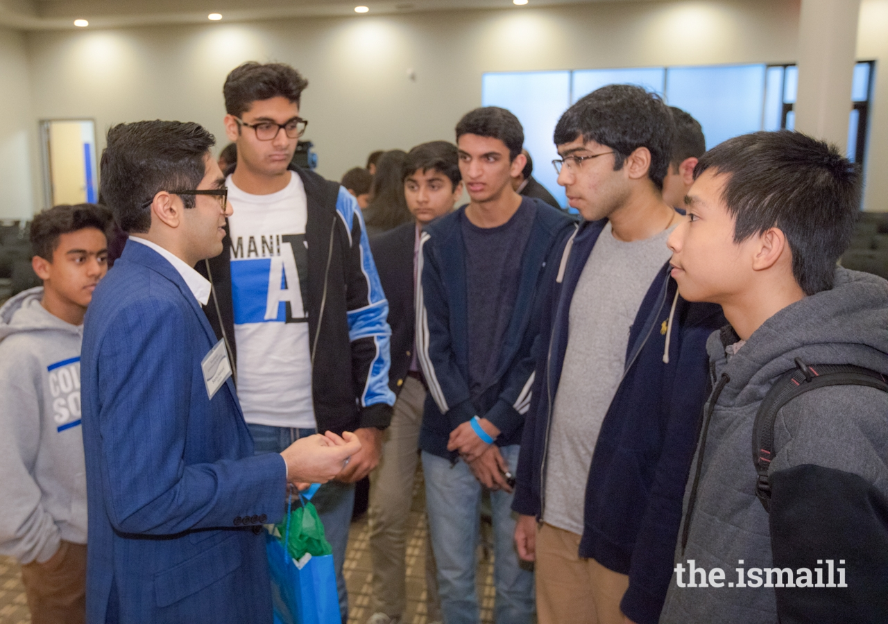 Sami Hakani, a graduate of Yale University, speaks with youth and encourages them to pursue excellence in education.