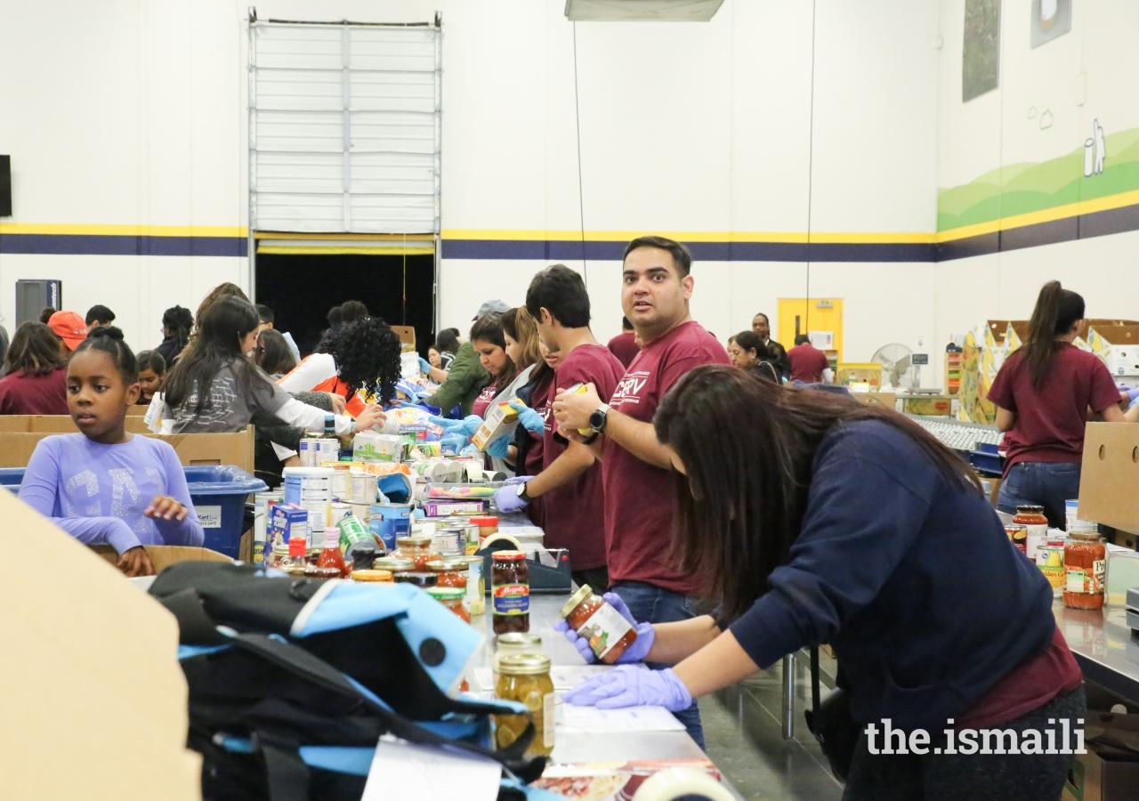 Sorting donated food items at the Atlanta Community Food Bank