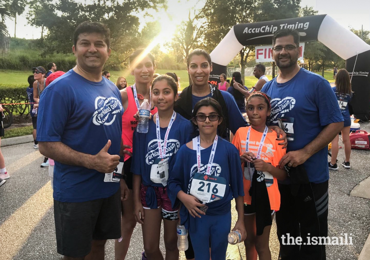 Yasmin Dharamsi (on left in red shirt), with President Zahra Hayat-Daya of the Council for Florida (in blue) and other participants in the Parkland Dash.