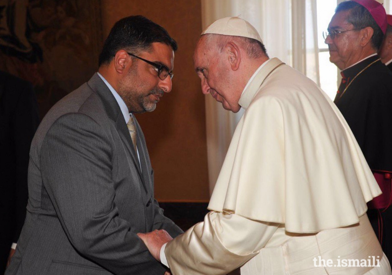 Dr. Hussein Rashid's audience with Pope Francis at a conference on environmental care in September 2016