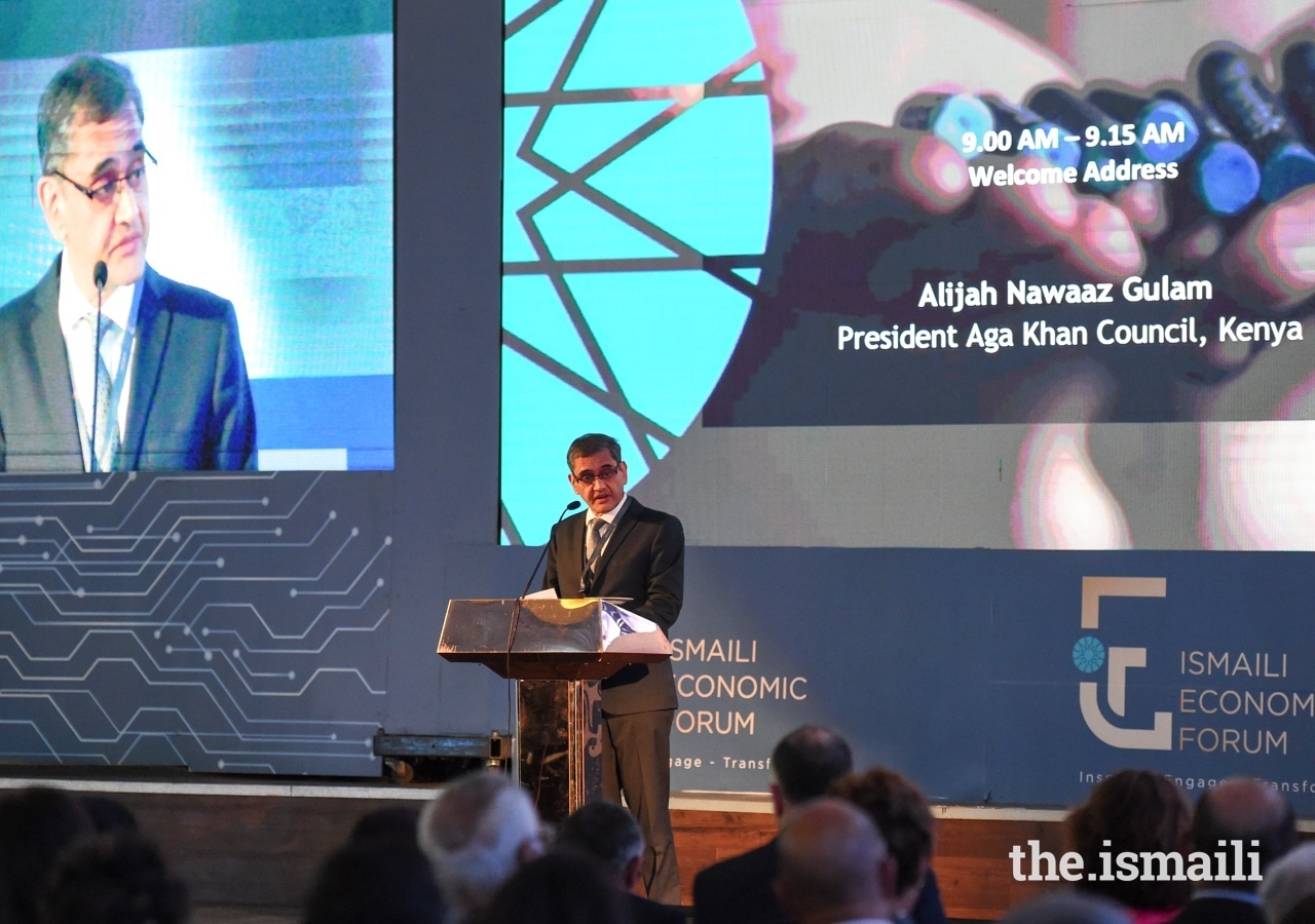 President of the Ismaili Council for Kenya, Nawaaz Gulam, delivered the welcome address at the Ismaili Economic Forum, and expressed the need for delegates to excel in all areas.