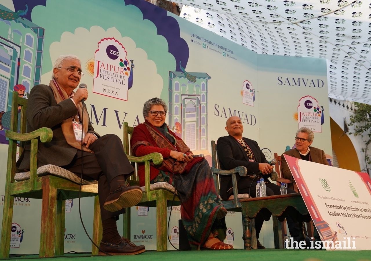 Writer, politician, and lawyer Salman Khurshid (left) speaks on the panel, which also featured (from centre-left to right) writer and historian Rana Safvi, Professor of Anthropology Zulfikar Hirji, and Max Rodenbeck.
