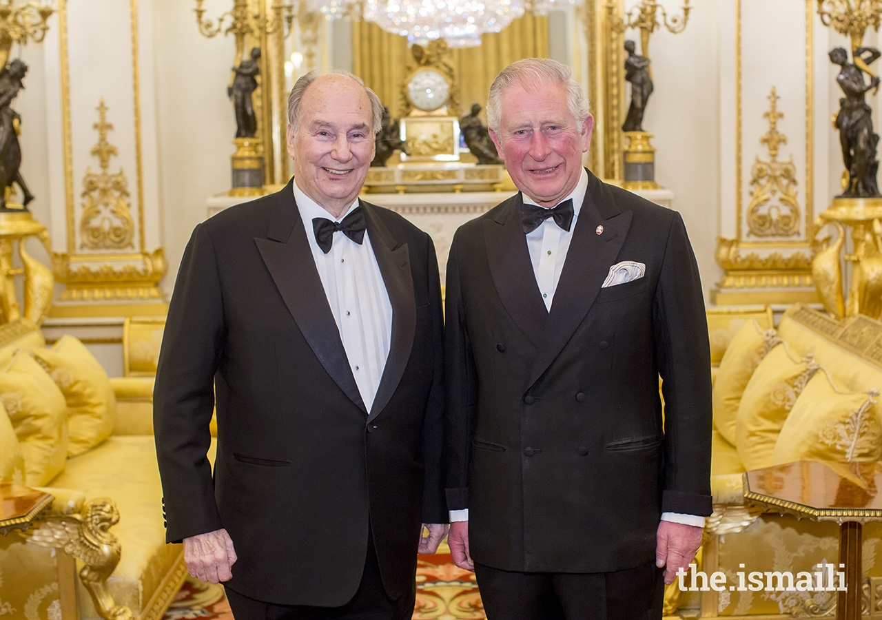 His Royal Highness The Prince of Wales honoured Mawlana Hazar Imam as Global Founding Patron of The Prince's Trust at a dinner at Buckingham Palace on 12 March 2019.
