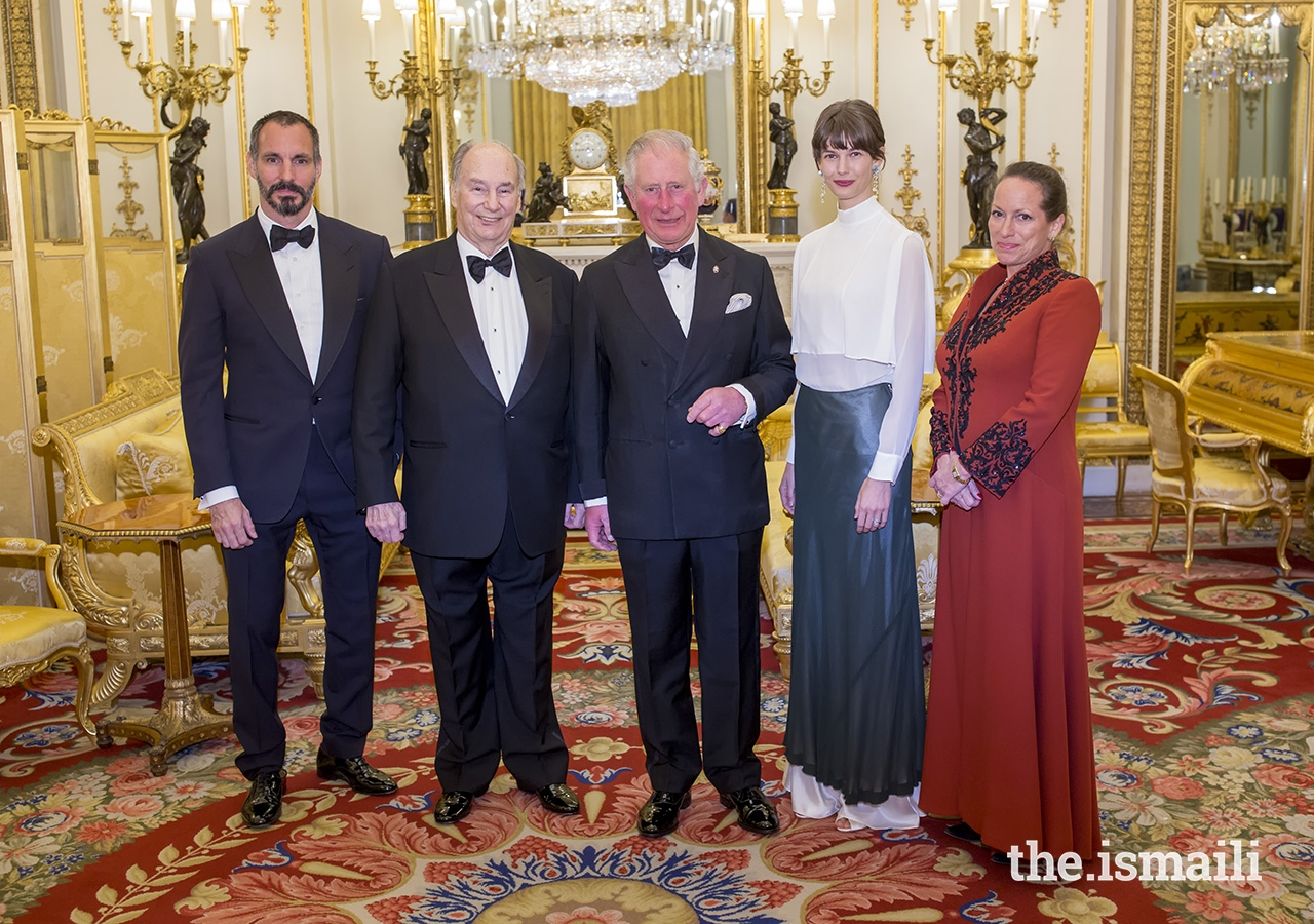 Mawlana Hazar Imam was accompanied by Prince Rahim, Princess Salwa, and Princess Zahra to a dinner at Buckingham Palace, where he was honoured as Global Founding Patron of The Prince's Trust.
