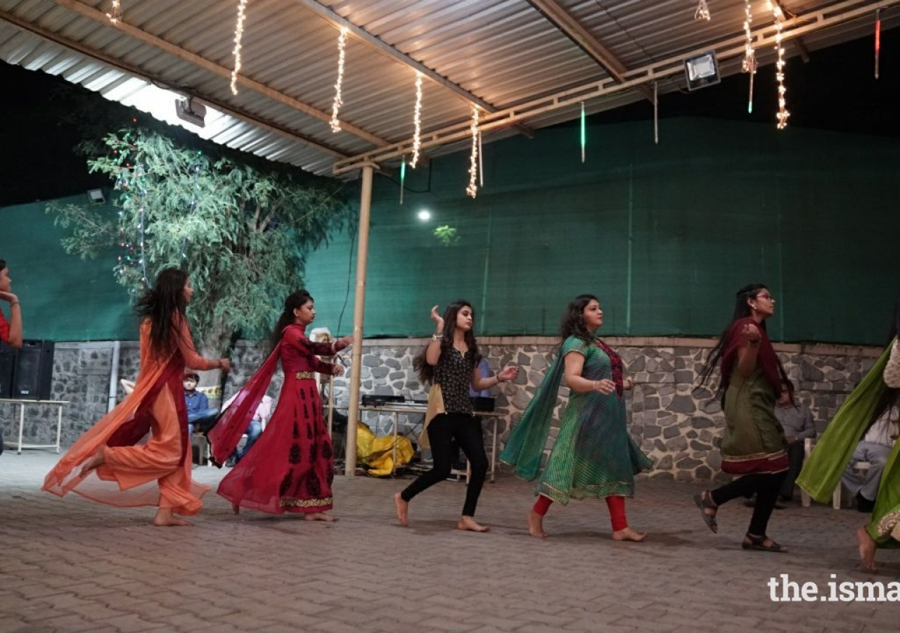 Youngsters participate in garba at Palace View Jamatkhana in Pune