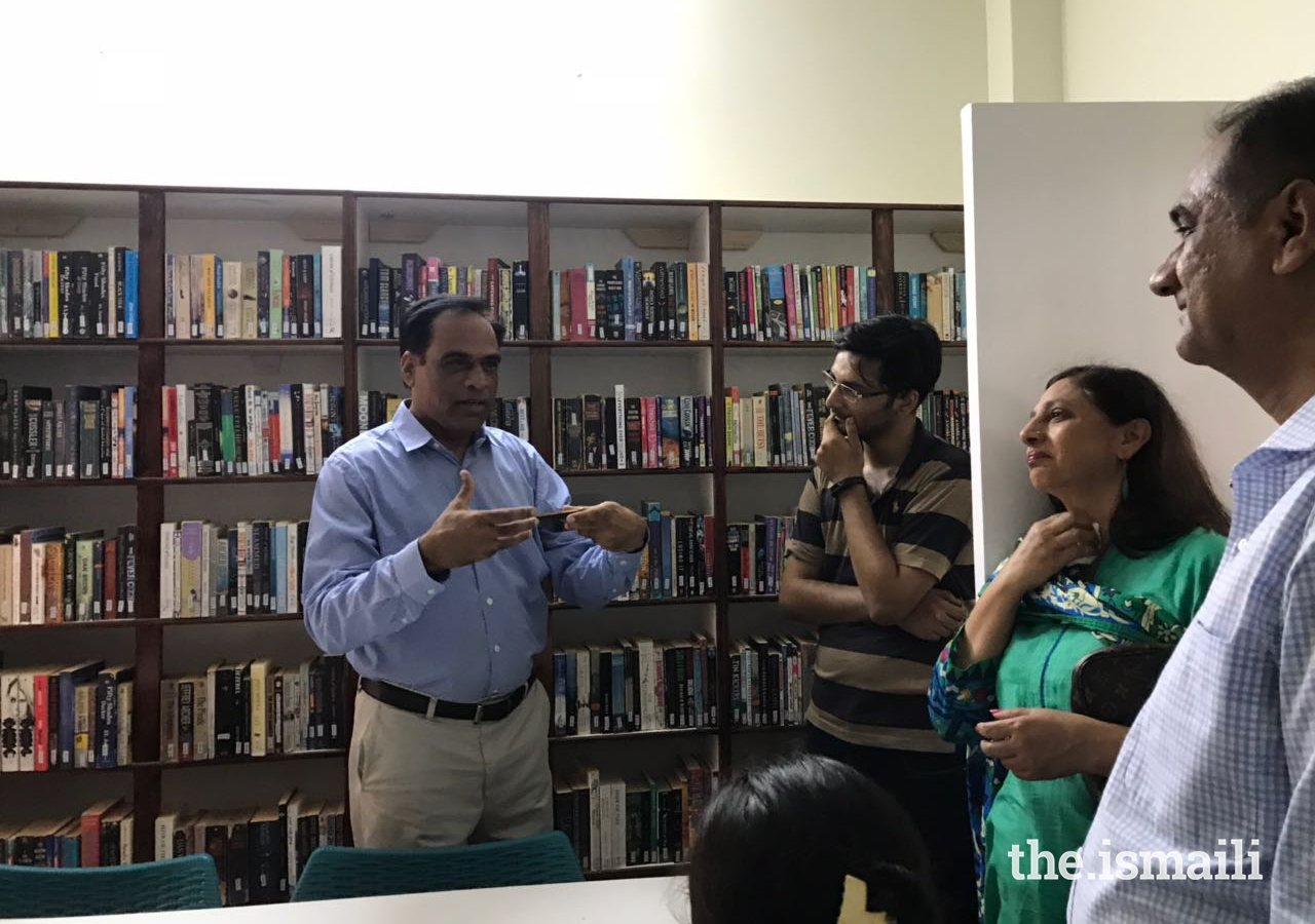 President of the Gulshan Council Saeed Wazir Ali speaking at the inaugural ceremony of the Library and Reading Room.