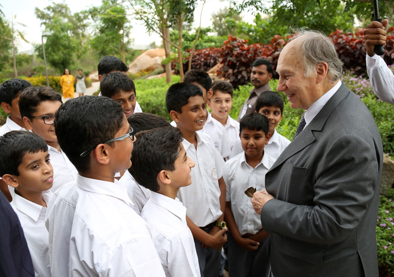 Mawlana Hazar Imam meets a group of students on the campus of the Aga Khan Academy, Hyderabad. AKDN / Ahmed Charania