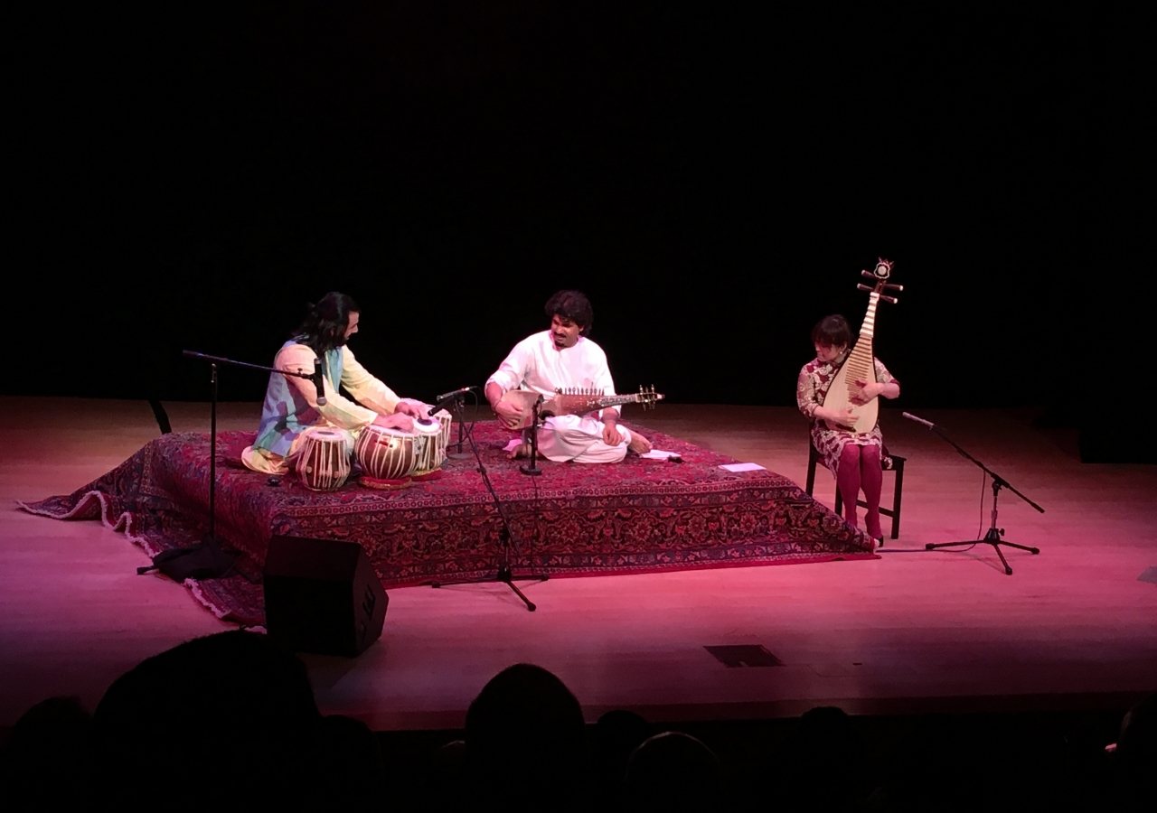 Afghan rubâb player Homayoun Sakhi (center)  percussionist Salar Nader, and Chinese pipa player Wu Man, at the Aga Khan Music Initiative Concert in New York at the Asia Society Annual Dinner