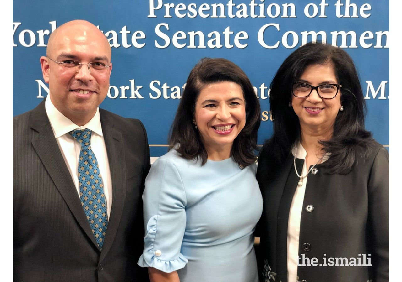 From left) Shjahan Merchant, former Northeast Council President, Anna Kaplan, New York State Senator, and Minaz Fazal, former National Council President Banu.