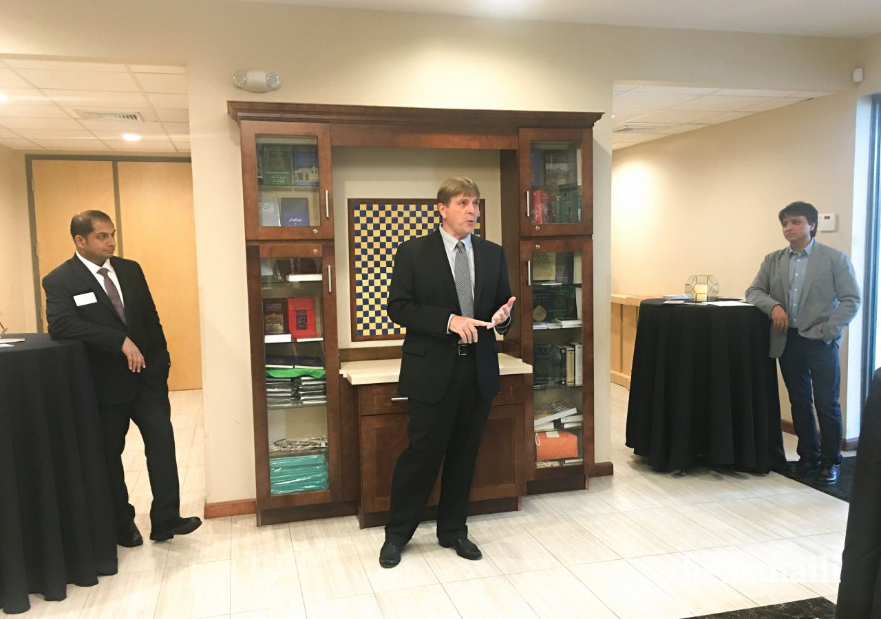 Randal Cutter, a candidate for the position of Coral Springs Commissioner Seat 2, addresses the Ismaili Jamat present at the Meet and Greet.