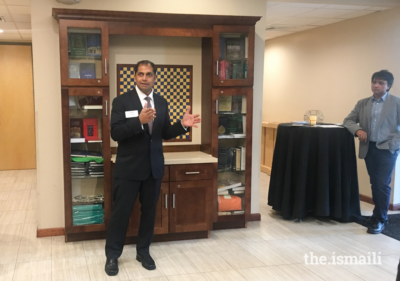 Khurrum Wahid, another candidate for the position of Coral Springs Commissioner Seat 2, addresses the Ismaili Jamat present at the Meet and Greet.
