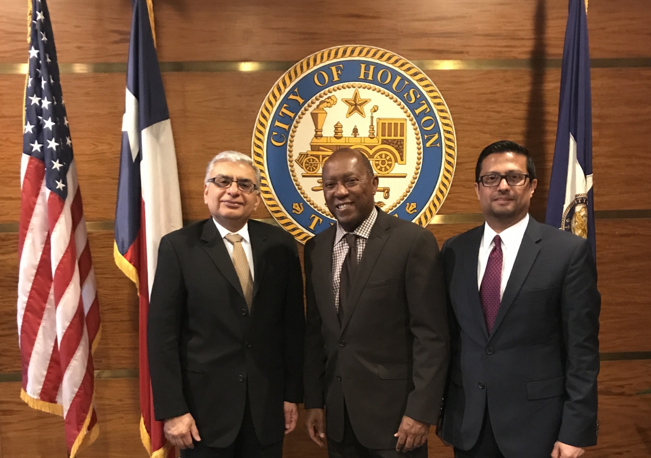 Sylvester Turner, Mayor of Houston meets with Dr. Barkat Fazal, President of the Council for the United States, and Murad Ajani, President of the Council for Southwest, in preparation for Mawlana Hazar Imam's Visit.