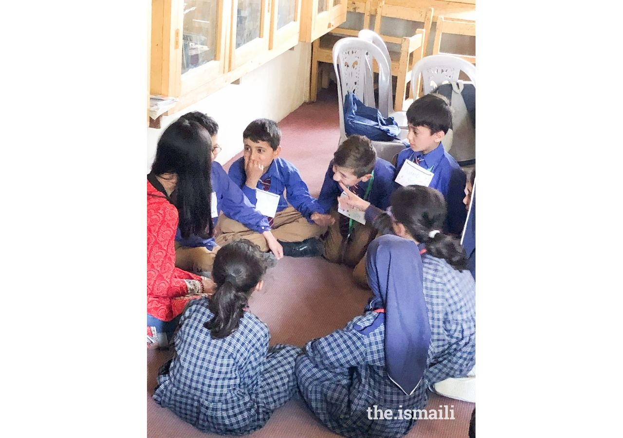 Hunzai students playing the English word game, 'I went to the market'.
