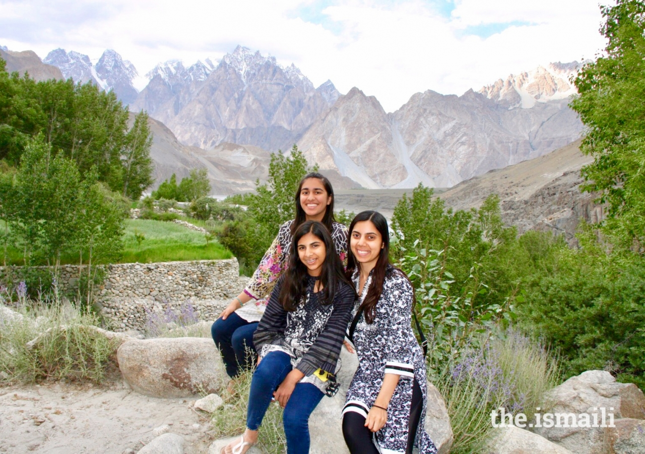 (Left to right) Ammana Karmali, Ayla Karmali, and Alizeh Karmali at Duikar Mountain.