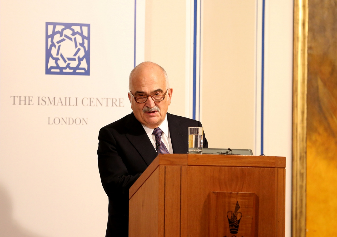 His Royal Highness Prince Hassan El Talal speakiing at the Ismaili Centre London. Ismaili Council for the UK