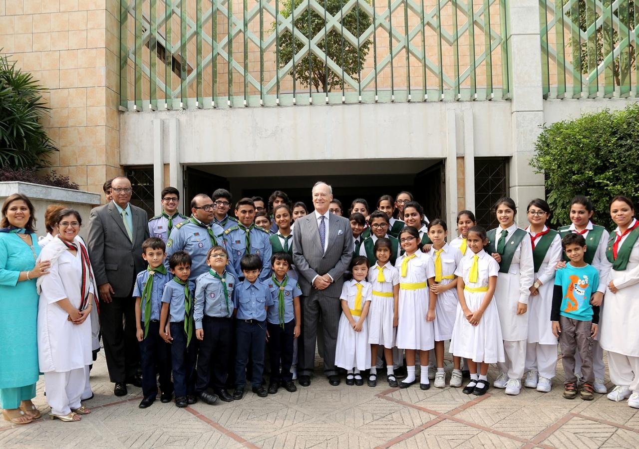 Prince Amyn together with the Aga Khan Girl Guides and Boy Scouts of Bangladesh at the Ismaili Jamatkhana and Centre, Dhaka. Ismaili Council for Bangladesh