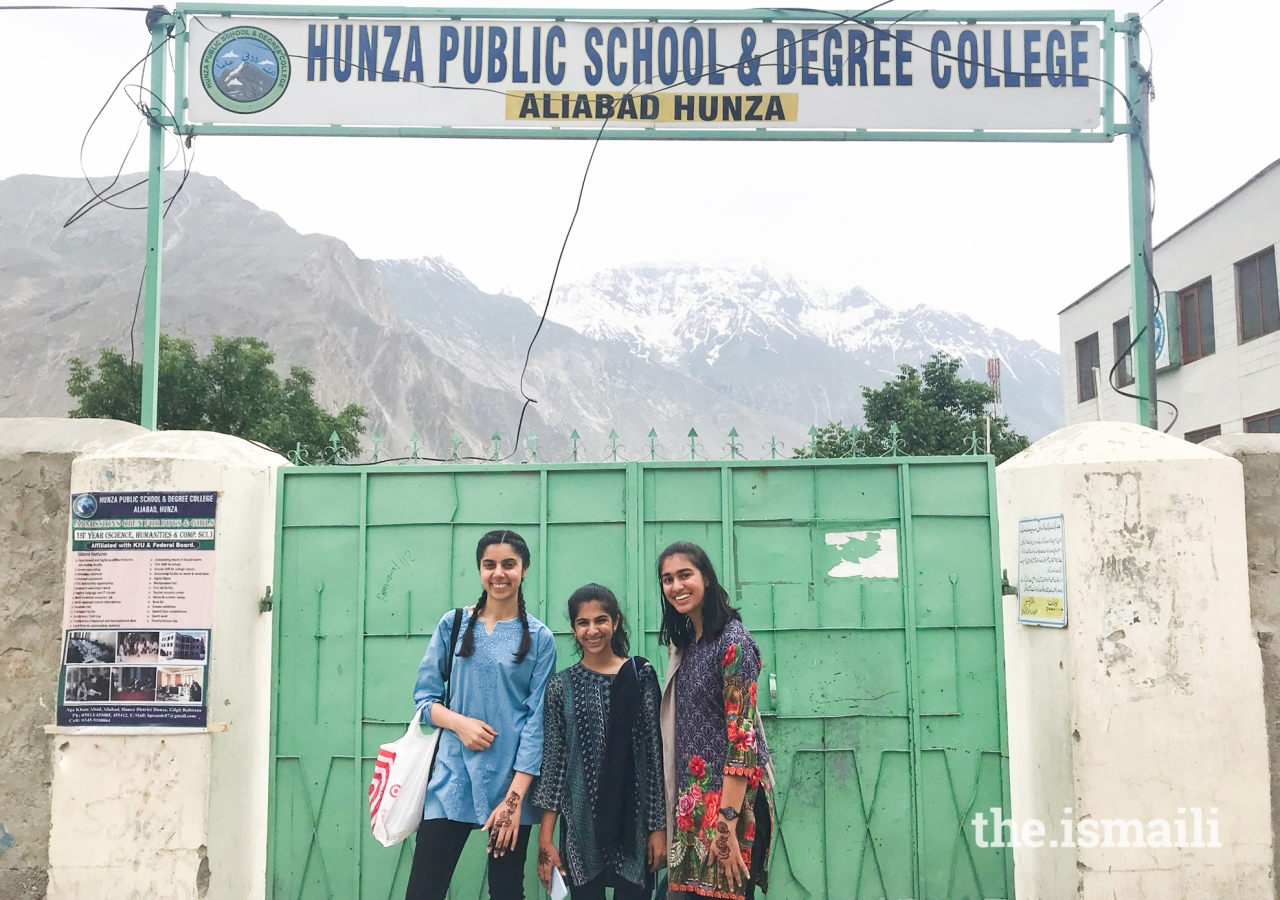 School in Aliabad where the Karmali girls taught morning sessions. (Left to right) Alizeh Karmali, Ayla Karmali, Ammana Karmali.