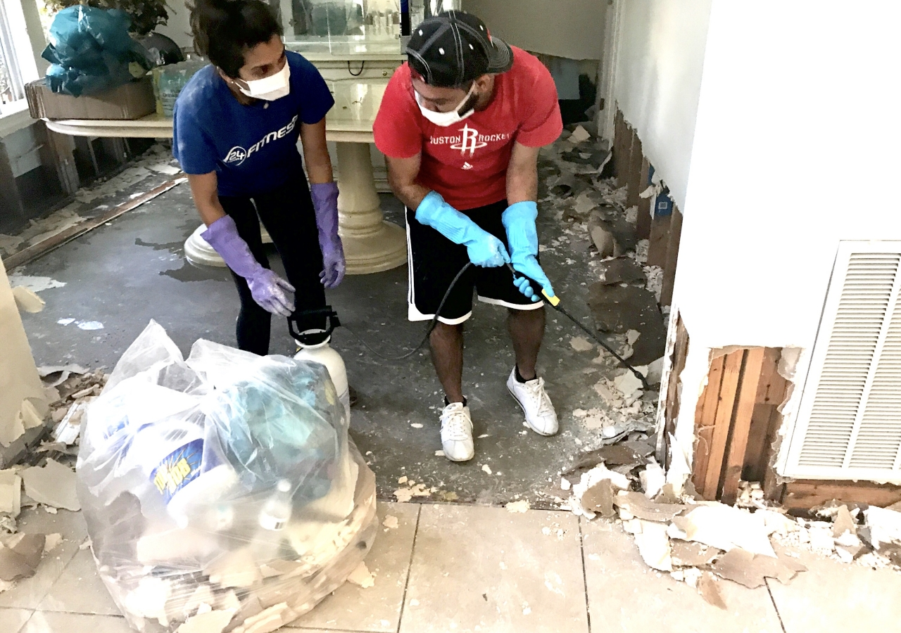 Community members came together in Friendswood, TX , to begin rebuilding homes.